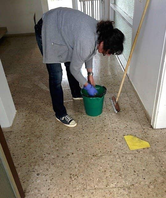 Fregar suelo con antiparasitario